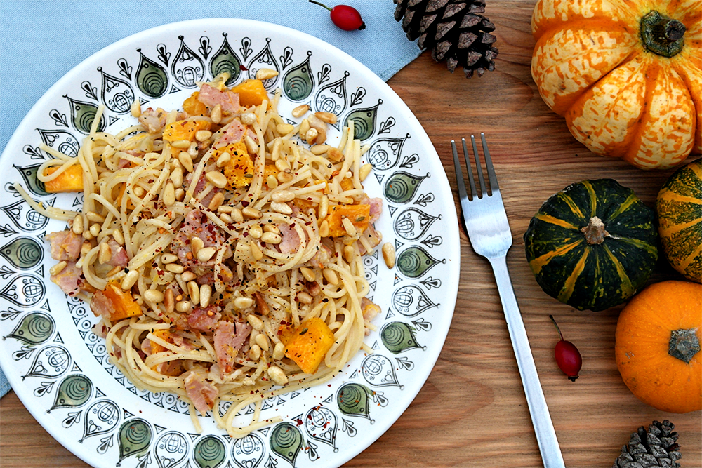 Pumpkins and Bacon Spagetti