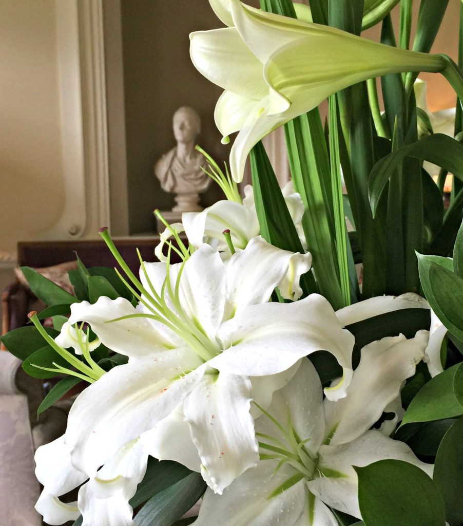 lilies and bust