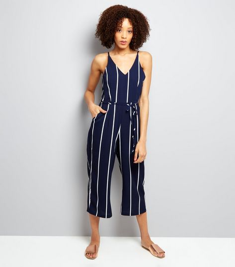New-Look-AX-Paris-Navy-Stipe-V-Neck-Jumpsuit