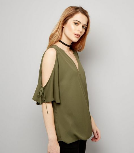 New-Look-Khaki-V-Neck-Wrap-Front-Cold-Shoulder-Top