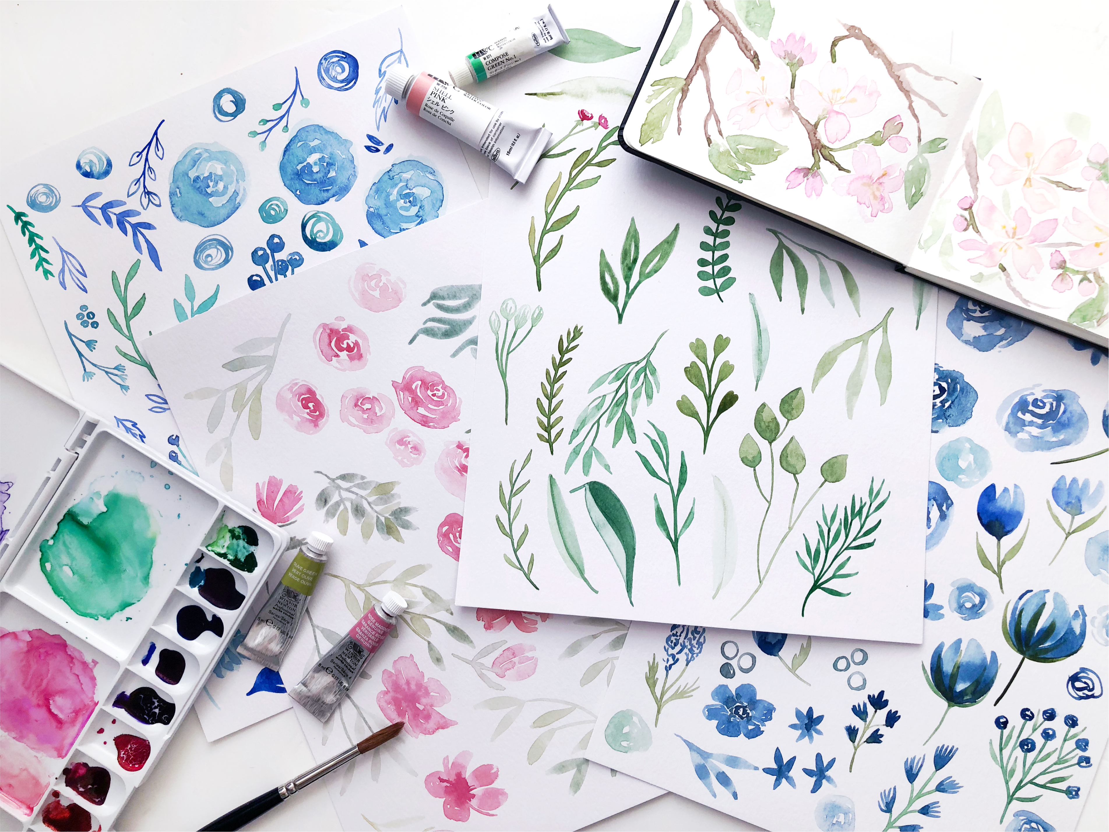 Watercolour paintings of various leaves and designs on white paper