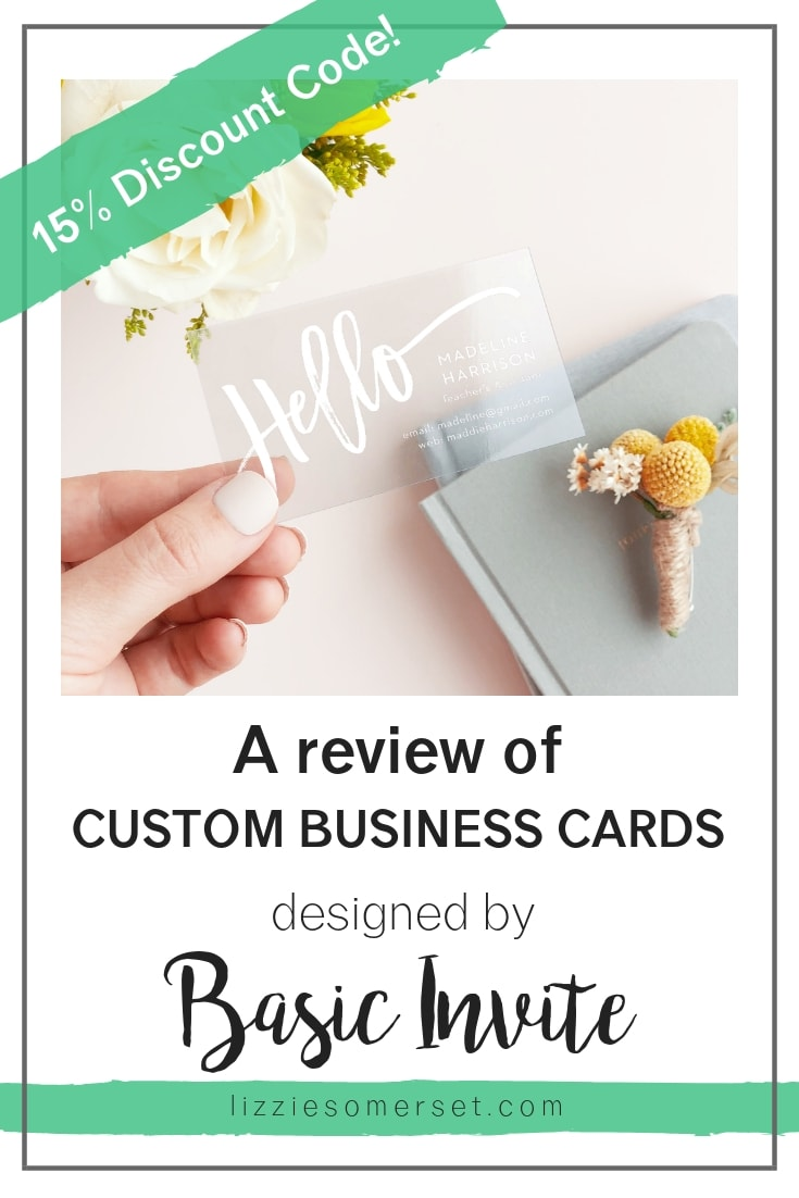 Custom business cards from Basic Invite - beautiful and original designs made to order - read my review and get a 15% discount for yourself!