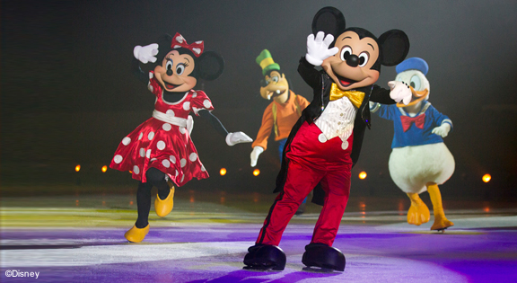 Disney on Ice at the O2, London - Minnie and Mickey Mouse, Donald Duck and Goofy on an ice rink
