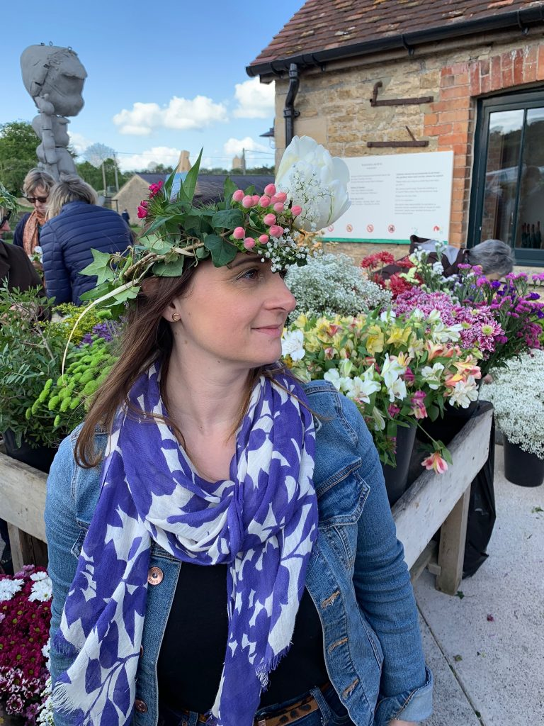 Lizzie Somerset with her floral crown ahead of Garden Day
