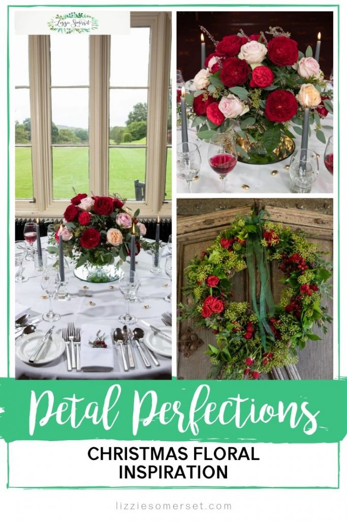Find Christmas floral inspiration with Petal Perfections, Somerset-based floristry classes for Christmas Tablescapes and wreaths #Christmas #floristry